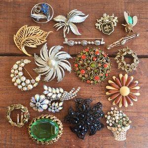Broken Junk Jewelry Lot - 17 Pins